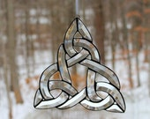 Celtic Knot, Trinity Knot, Bevel Cluster Stained Glass Sun-catcher, Hand Crafted, Made in the USA