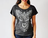 Sale! Women's T-Shirt, Moth Shirt- Loose T-Shirt, Comfy Shirt, Bohemian Clothing
