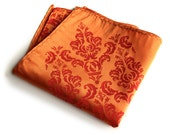 Orange Damask pocket square. Ornate silkscreen print. Men's pocket square. Vibrant carrot, coral orange & more. Groomsmen gift.