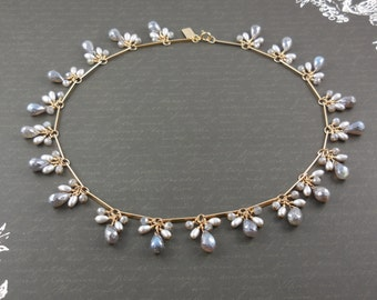 Gold-Filled Labradorite and Freshwater Pearl Necklace