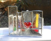 Beware The Frozen Heart Triangle Shaped Rainbow Themed Stained Glass Candle Holder OOAK tealight holder Valentines Gift