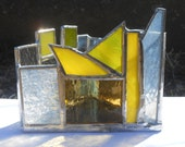 Lustrous Yellow (Zen Zone Chakra Line of Triangle Shaped Rainbow Themed Stained Glass Candle Holder)
