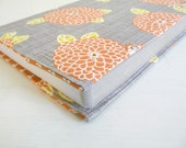 Modern Floral Journal Cover, Cotton Print Journal with lined pages, Orange, Grey and Yellow