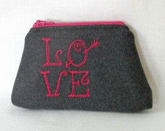 Love Squared Embroidered Grey Wool Pouch, Cosmetics Bag, Small Zippered Bag