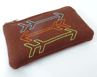 Three Arrows Little Zippered Bag, Wool Coin Purse, Padded Gadget Case
