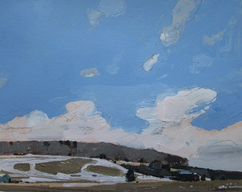 High Ground, March 18, Original Small Landscape Painting on Paper, Stooshinoff