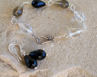 Faded - Faceted Glass  Ombre Black Tear Drop Bracelet And Earring Set  SRAJD