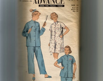 Advance Teen  Pajamas or Nightgown Pattern 6876