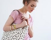 MOVING SALE Charcoal Dot Tote Bag, Hand Printed Canvas, Leather Straps