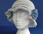 Pastel Striped Cotton Knit Sun Hat with Blue Flower, Chemo Cap