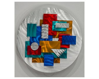 Silver & Multi-Colored Modern Wall Sculpture - 3D Abstract Wall Art - Round Wall Hanging - Colorful Accent - Constant Variation by Jon Allen