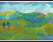 Original Acrylic Painting ACEO Colorful Mountains Trees Landscape Impressionism Art Card Modern Free Ship ATC SFA