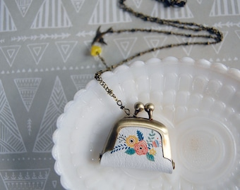 dainty floral coin purse necklace with bird detail- long chain - vintage modern
