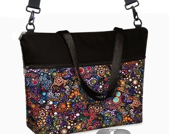 17 inch Laptop Bag avail w/ cross body strap /  Laptop Tote Bag / Women's Briefcase / Pockets,  Zipper black colorful   MTO