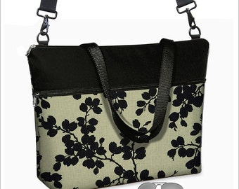 17 inch Laptop Bag avail w/ long cross body strap / Black Floral Laptop Tote Bag / Women's Briefcase / Pockets,  Zipper  MTO