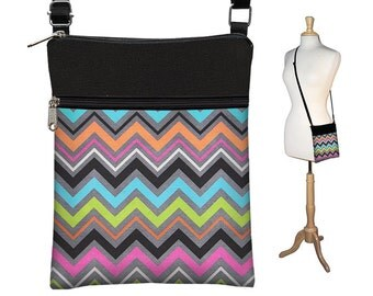 Chevron Sling Bag Shoulder Purse Cute Crossbody Bag Small Travel Purse Zipper Fits eReaders  Pink Orange Blue Green RTS