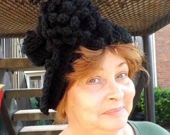 Crochet Hat Womens Hat, Womens Crochet Hat,  Cloche Hat, Crochet Flower, Black Hat, LAUREN Cloche Hat with Flower, Crochet Hat, Formal Hat