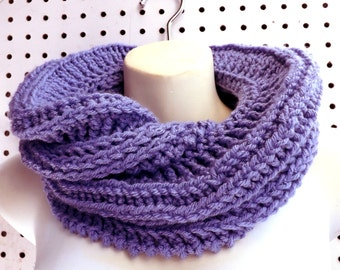 Periwinkle Spring Crochet Infinity Cowl Scarf, Folded Periwinkle Blue Scarf, Infinity Scarf, Crochet Scarf, Womens Scarf, Spring Scarf