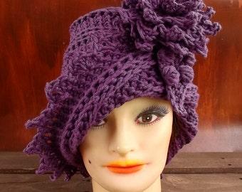 Mulberry Purple Crochet Cotton Hat, Womens Cotton Hat, Cotton Flower Hat, Summer Cloche Hat, Cloche Sun Hat, Floppy Beach Hat, Purple Hat