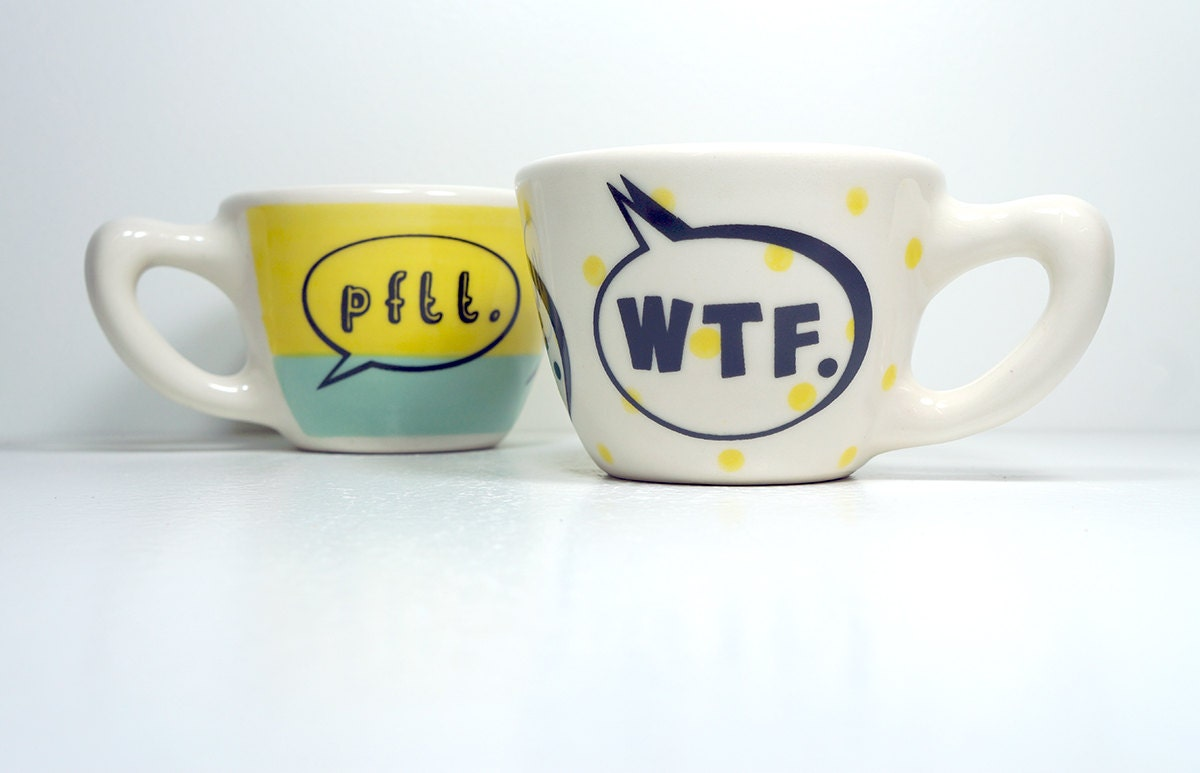 "12oz cup that says ""wtf"" on yellow polkadots, made to order."