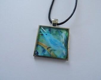 Blue Bird Necklace, Bird Art Jewelry Sale, Indigo Bunting Pendant Necklace, Songbird Pendant, Bird Jewelry