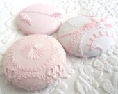 Pink white buttons,  fabric buttons, covered buttons, textured buttons, 1.5 inch button, size 60 buttons