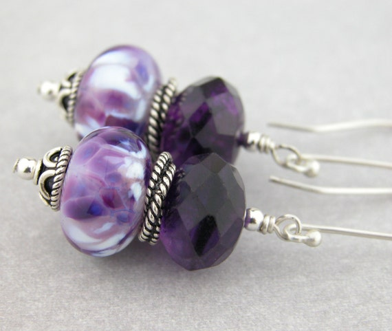 Royal purple amethyst lampwork and sterling earrings