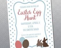 Printable Easter Invitation Polka Dot Egg Hunt Invitation
