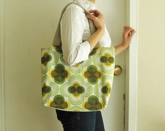 Tote bag retro pattern in green yellow brown book bag market bag cotton canvas retro modern mid-century spring tote white