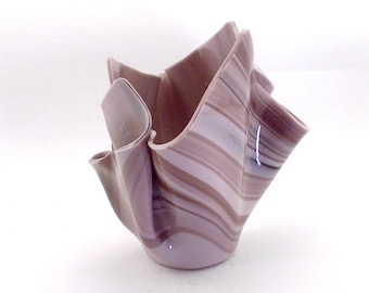 Vase Candle - Orchid Purple Opal Glass Vase, Free Spring Rain Scented, Soy, Paraffin Wax Blend, Paper Core, Self-trimming Wick Candle