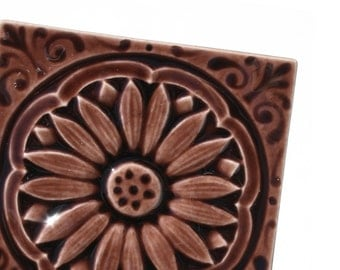 Daisy 3x3 - handmade ceramic tile for fireplace, kitchen, bath - home decor  -  glossy brown