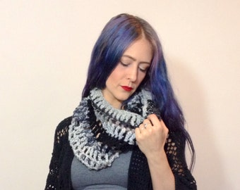 Black and Grey Hand Crocheted Cowl Scarf with Abstract Random Stripes - Chunky Circle Eco Cowl Scarf - Recycled Wool Mohair Cotton Yarn Knit