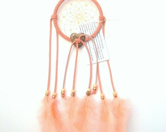 Peach Dream Catcher, Turkey Flat Feathers