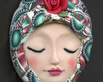 OOAK Polymer Clay Detailed Art Doll face with Faux Fabric Clay Hat ADH 10