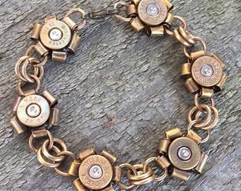 Bullet Flower Bracelet, Recycled Brass Shell Casing Flower Bracelet