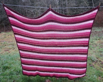 Vintage Crocheted Afghan in Shades of Maroon & Pink Stripes Throw Blanket 54x67 Inches