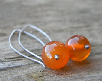 simple carnelian earrings - oxidized silver