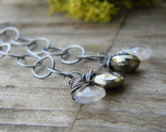 rainbow moonstone and pyrite on large link sterling silver chain - oxidized silver swinger earrings