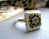 Ring, Portugal, Spain, Mexico, MTO, Mediterranean ceramic tile design ring, Sterling silver, sizes 6, 7, 8, 9, and 10