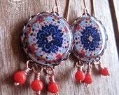 Statement earrings, Mexican jewelry, Folk art jewelry, Decorative plates, MTO, Talavera pottery design, Mexican plates, dangle earrings
