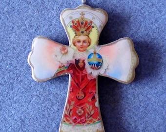 Infant of Prague Handmade Catholic Small Wall Cross Crucifix Wood Resin IP1