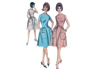 60s Full Skirt Dress Pattern Fit and Flare Dress pattern  vintage 34-26-36  pockets simplicity 5874