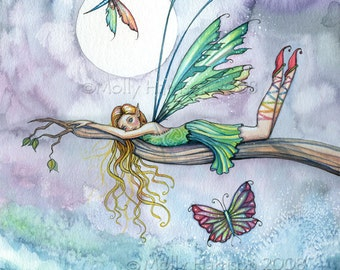Dream Spot - Flower Fairy Watercolor Illustration Fine Art Giclee Print 9 x 12 - Molly Harrison Fantasy Art