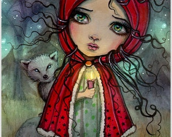 Little Red Riding Hood - Fairytale Art - Big Eye Baby Doll - Cute Fantasy Artwork by Molly Harrison - Illustration