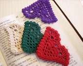 Bookmark, Page Corner, 3 inches, Heart-shaped, Place Marker; 4 color choices, Crochet in several colors