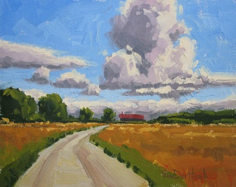 Gathering Clouds - 8 x 10 Inch Original Impressionist Landscape Oil Painting of Clouds - Storm Painting - Wall Decor