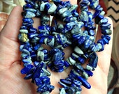 Lapis Lazuli Gemstone Chip Necklace tumbled gem chips 36 inches