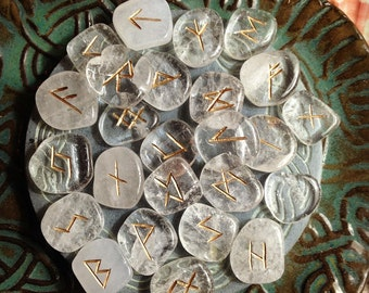 Clear Quartz Crystal Runes Rune Set gemstone divination tool with pouch and instructions