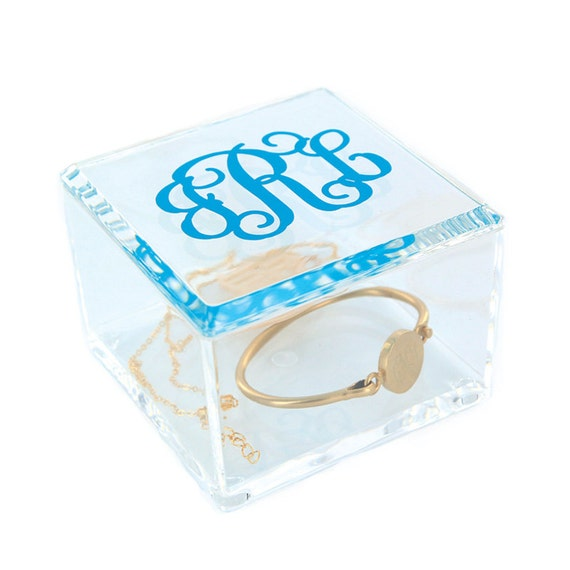 Acrylic Trinket Boxes : Small monogram jewelry box with lid by