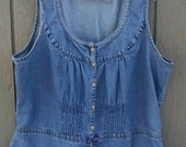 Plus Size Denim Vest Jean Pleated